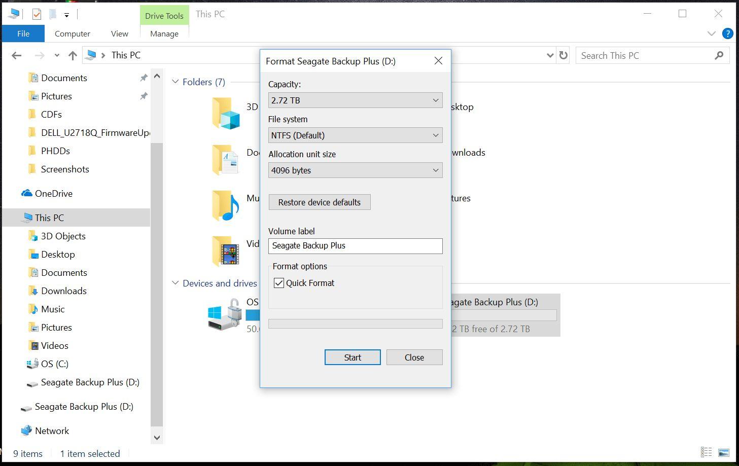 إعادة تهيئة محرك أقراص على نظام Windows