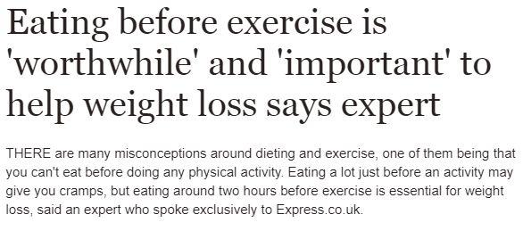 تناول الطعام قبل التمرين يساعد على فقدات الوزن