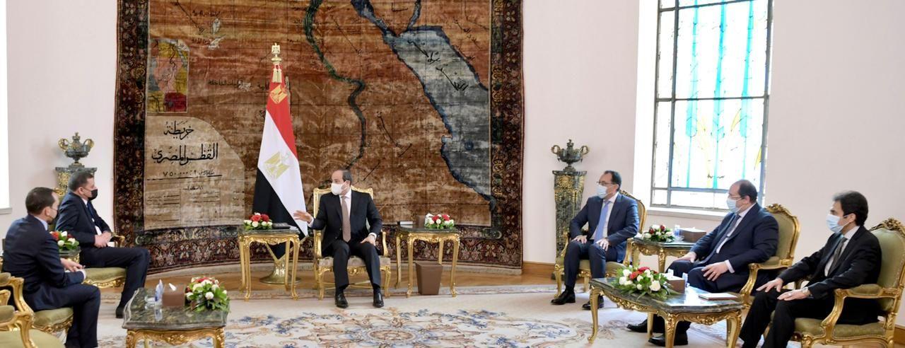 الرئيس السيسى يستقبل عبد الحميد الدبيبة رئيس الحكومة الليبية الجديدة (2)