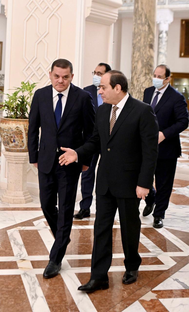 الرئيس السيسى يستقبل عبد الحميد الدبيبة رئيس الحكومة الليبية الجديدة (3)
