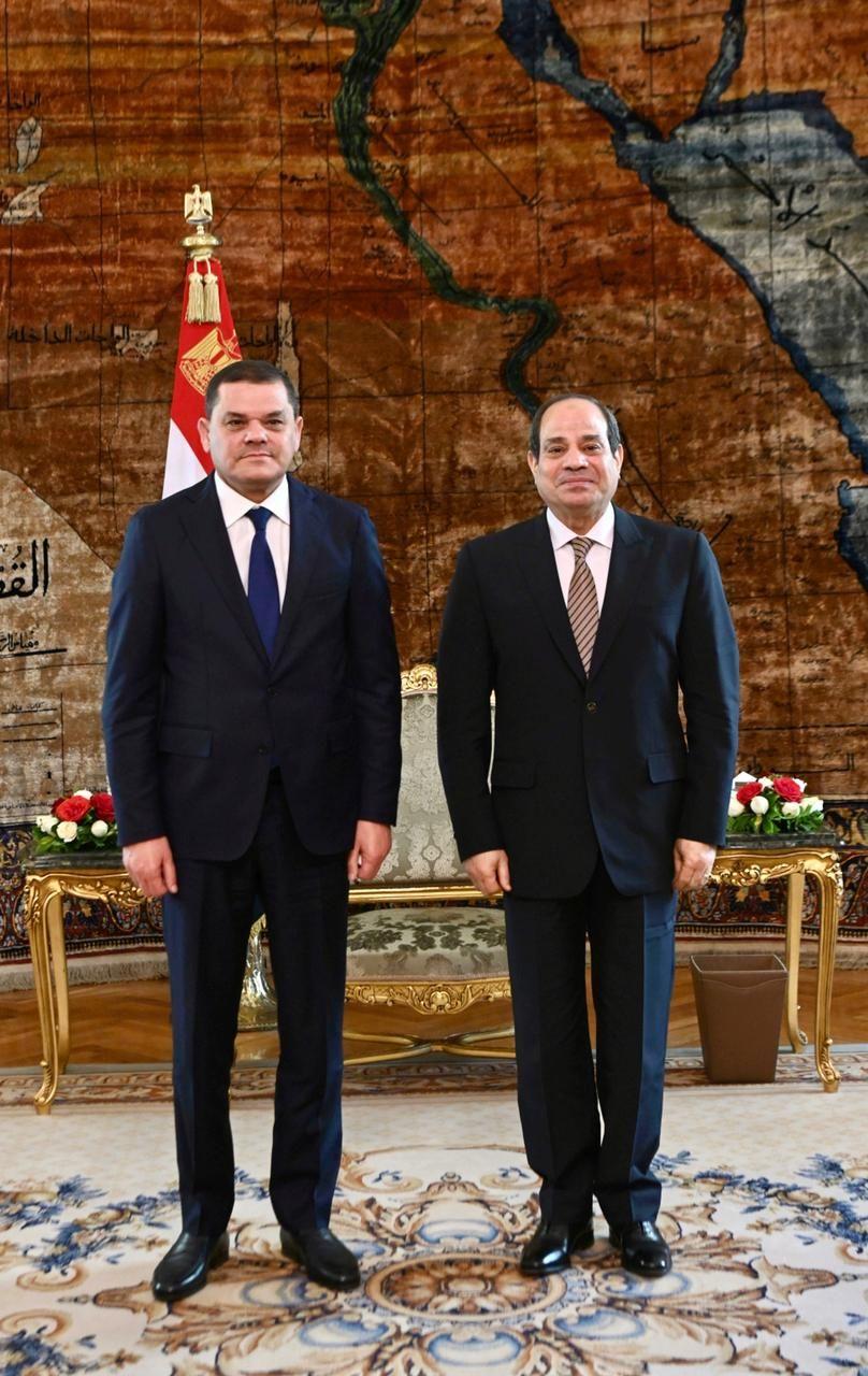 الرئيس السيسى يستقبل عبد الحميد الدبيبة رئيس الحكومة الليبية الجديدة (1)