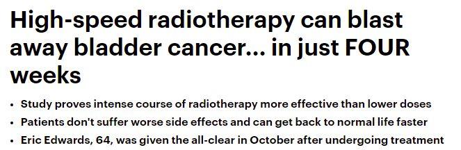 علاج إشعاعي يقضي على سرطان المثانة في 20 يومًا فقط