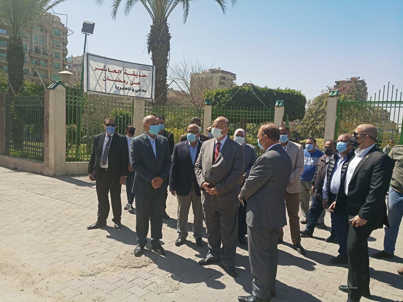محافظ القاهرة يتفقد تطوير الحدائق