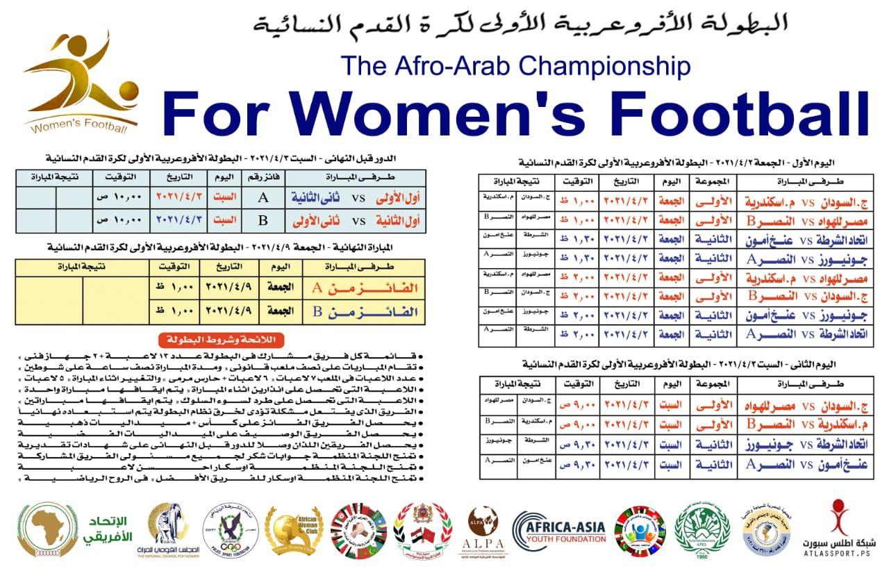 جدول مباريات البطولة الافروعربية لكرة القدم للسيدات