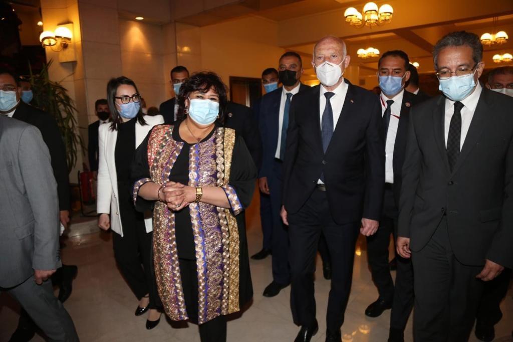وزيرة الثقافة المصرية الدكتورة ايناس عبد الدايم تستقبل الرئيس التونسى قيس سعيد
