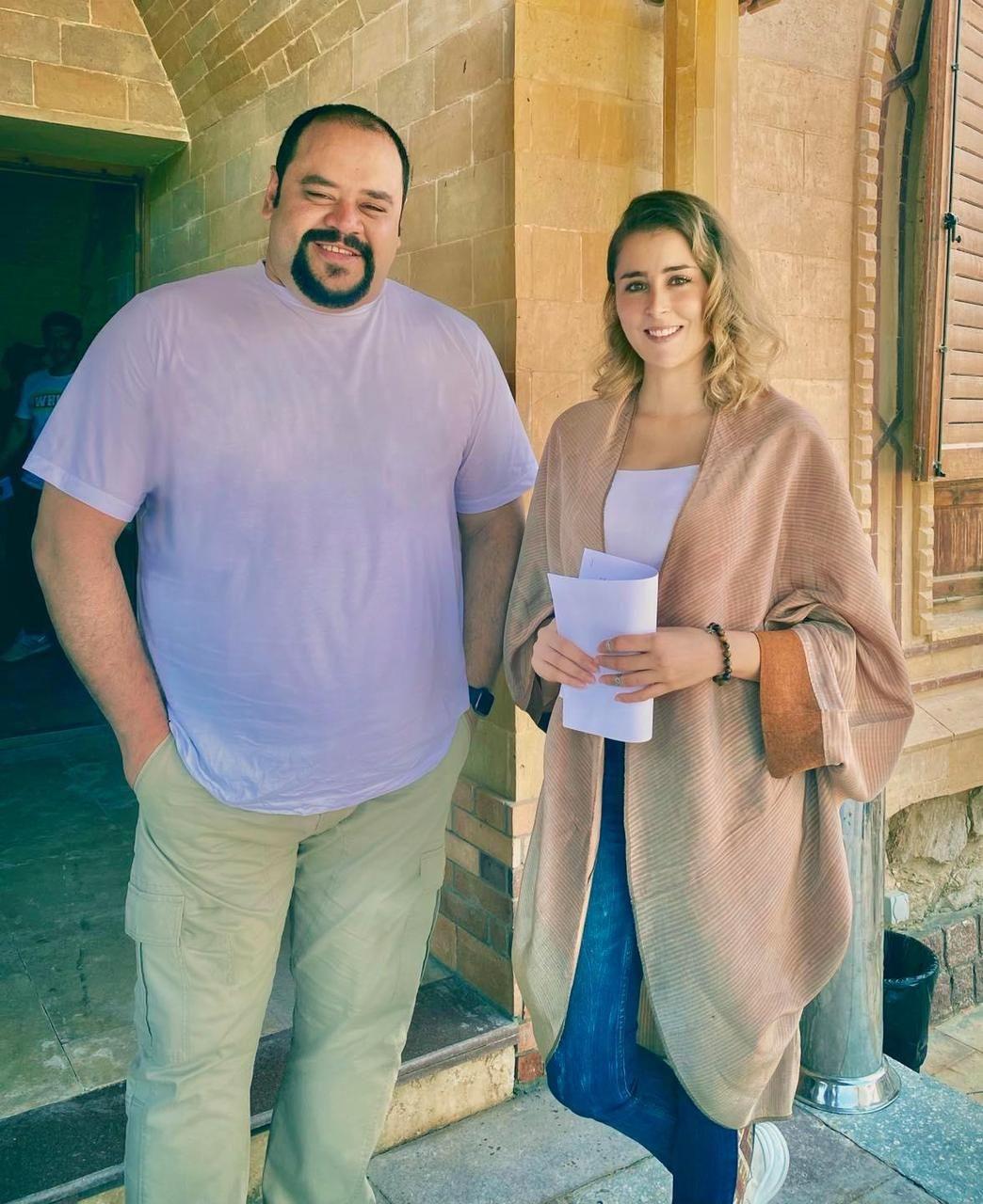 عائشة بن احمد ومحمد ممدوح من كواليس مسلسل لعبة نيوتن