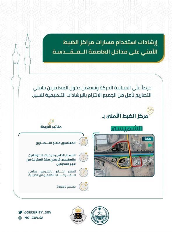 إرشادات استخدام مسارات دخول المعتمرين في مركز الضبط الأمني بالشميسي - المواطن