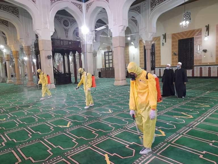 تعقيم مسجد إبراهيم الدسوقي بكفر الشيخ