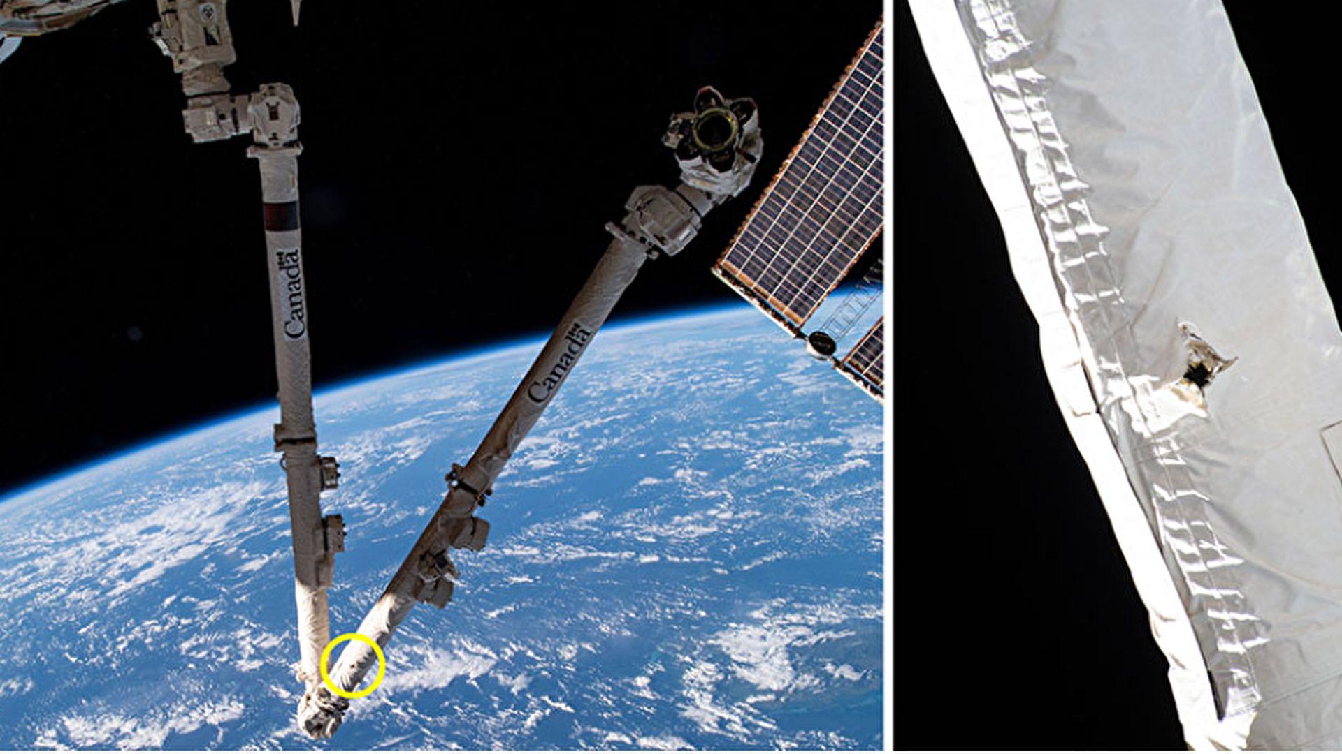 الجزء المصاب فى محطة الفضاء معلم عليه باللون الاصفر