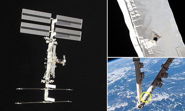 توضيح مكان اصابة محطة الفضاء
