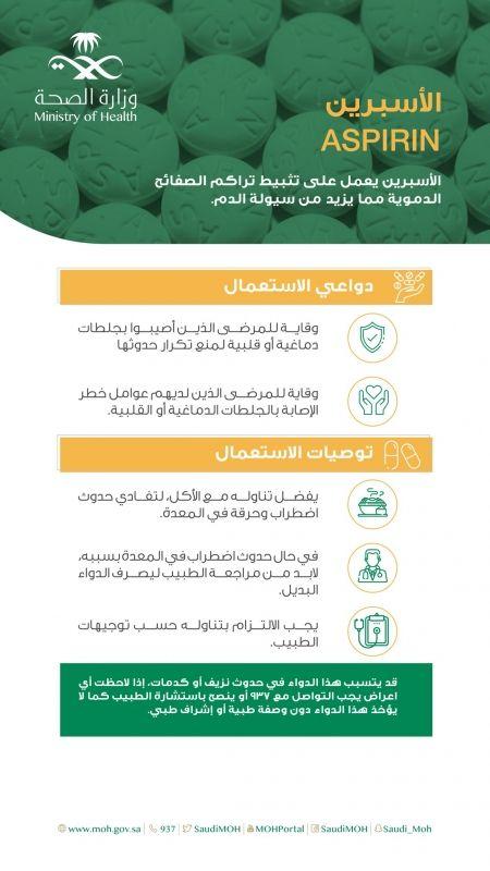 الصحة توضح ضوابط ودواعي استخدام دواء الأسبرين - المواطن