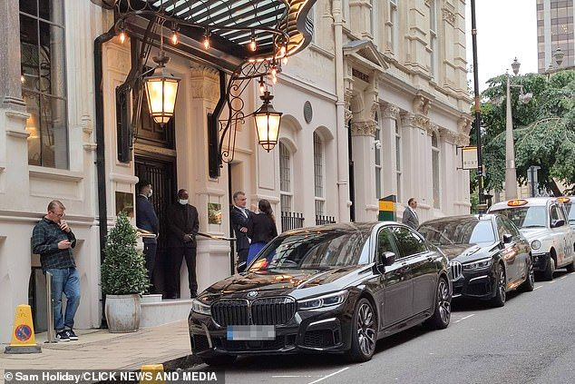 Before the crime: The £100,000 BMW was snatched outside The Grand Hotel, where Tom has been staying