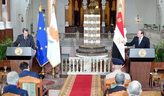 جلسة مباحثات ثنائية بين الرئيس السيسي ونظيره القبرصي في القصر الاتحادي (9)
