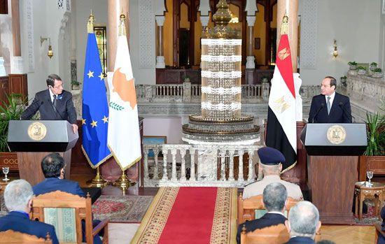 جلسة مباحثات ثنائية بين الرئيس السيسي ونظيره القبرصي في القصر الاتحادي (8)