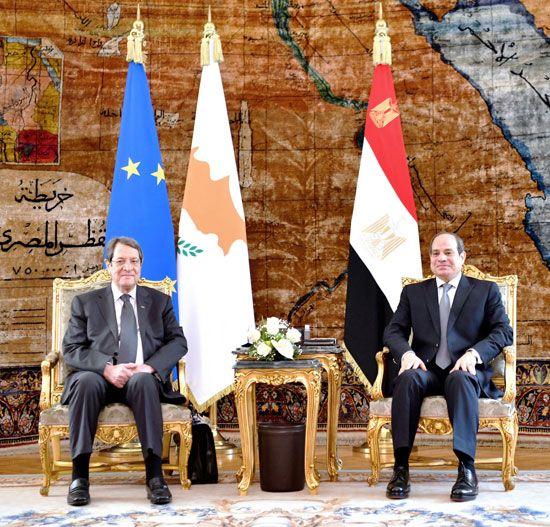 جلسة مباحثات ثنائية بين الرئيس السيسي ونظيره القبرصي في القصر الاتحادي (10)
