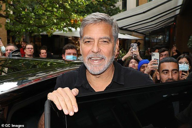 Heartthrob:George Clooney looked dapper as he headed to Deadline's Contenders Presentation to promote his film The Tender Bar at London Film Festival on Saturday