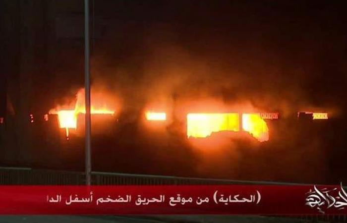 عمرو أديب يعرض لقطات حية لحريق عقار الهرم | فيديو