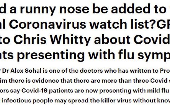سيلان الأنف لا يعتبر من أعراض فيروس كورونا