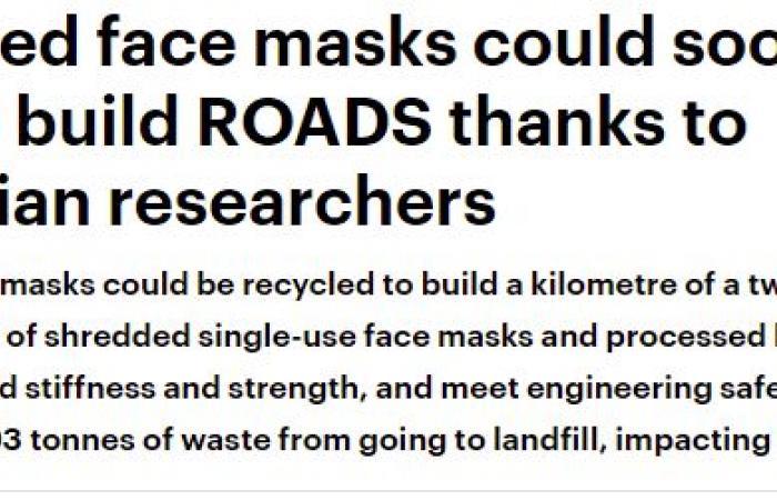 أستراليا تصنع طريقًا من أقنعة الوجه المستعملة