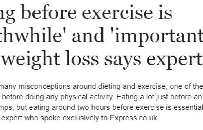 تناول الطعام قبل التمرين يساعد على فقدان الوزن