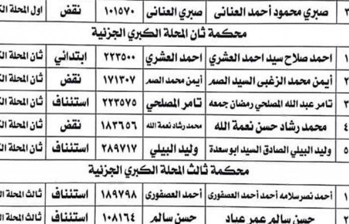 ننشر الكشوف النهائية للمرشحين على مقاعد مجلس نقابة محامين الفرعية بـ المحلة الكبرى
