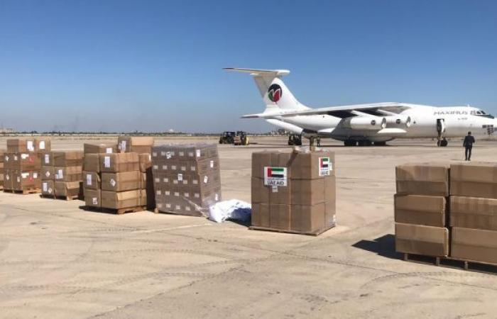 طائرة مساعدات طبية وغذائية إماراتية تصل إلى مطار دمشق الدولي