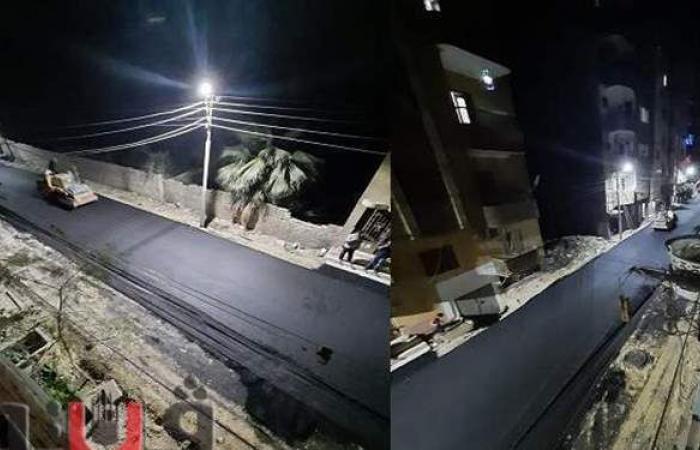 """""""طرق بني سويف"""" تواصل تنفيذ أعمال الرصف """"ليلا"""" لمنع التكدس المروري"""