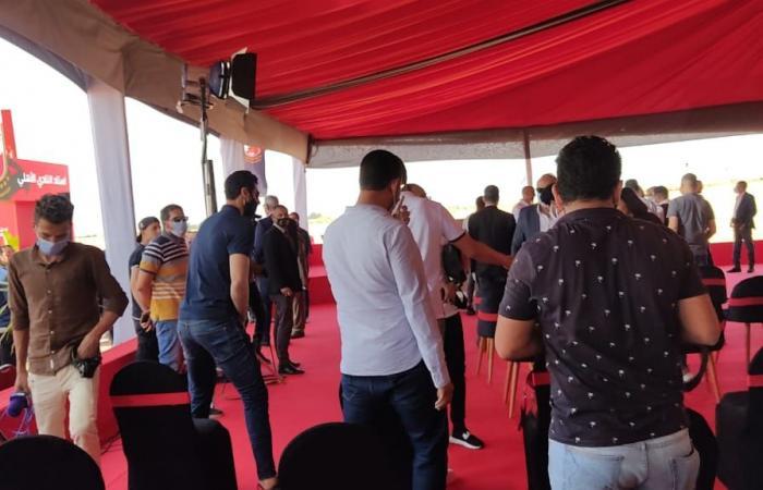 محمد الشناوى وسليمان وسعد سمير فى حفل وضع حجر أساس استاد الأهلي