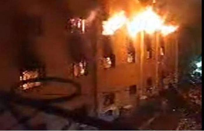 اللقطات الأولى لحريق كنيسة مارمينا بالعمرانية | فيديو