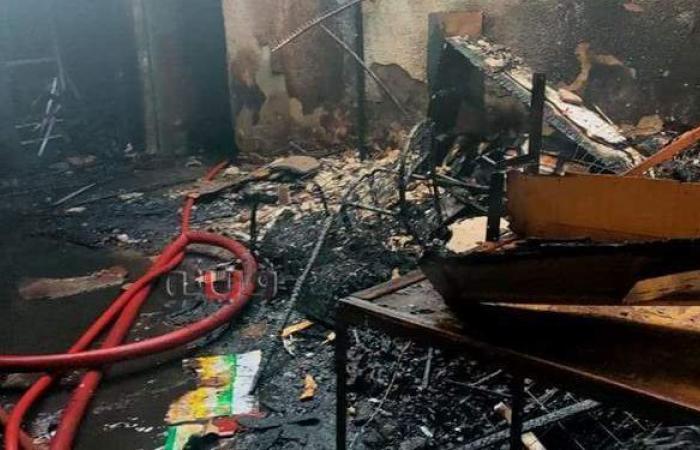 حريق في سوق تجاري بطنطا | صور