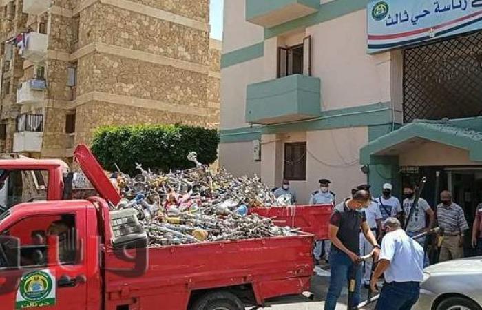 إعدام ألف و٥٦٣ شيشة في الإسماعيلية| صور