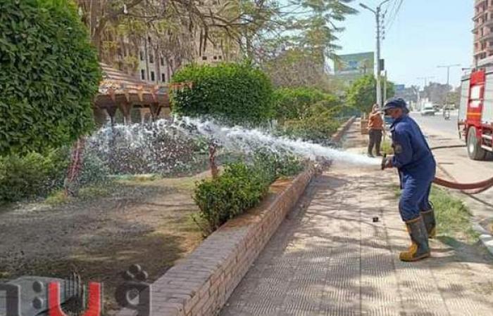 حملات مكثفة لغمر الحدائق العامة بالمياه لمنع التجمعات في شم النسيم بالدقهلية