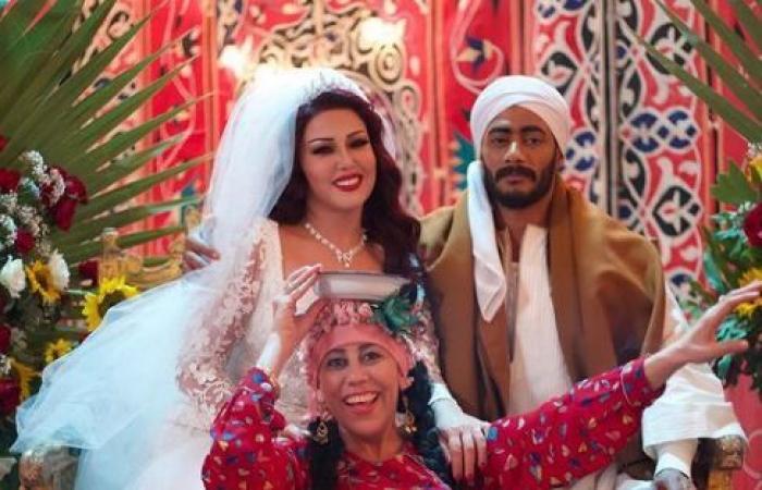 سمية الخشاب فى صور من كواليس زفافها بمسلسل موسى: محمد رمضان نجم من العيار التقيل