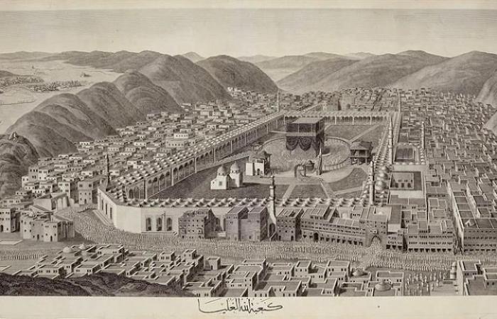 """رسم بانورامى للكعبة من القرن الـ18 فى مزادات """"سوذبيز"""" البريطانية.. صور"""
