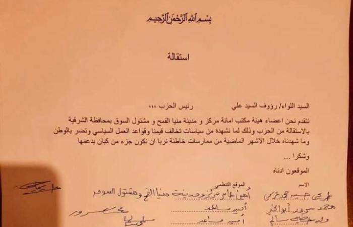 """استقالة هيئة مكتب """"الحركة الوطنية"""" بمنيا القمح اعتراضا على سياسات الحزب: تضر بالوطن"""