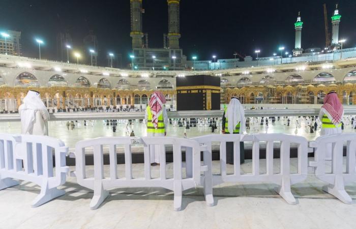 تجهيز الساحة الخارجية لـ المسجد الحرام لأداء الصلاة لأول مرة منذ تفشي كورونا