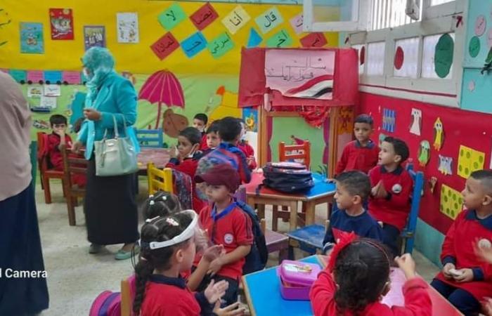 بدء العام الدراسى برياض الأطفال فى المعاهد الأزهرية بإجراءات وقائية.. صور